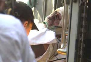 一名伤者被抬上救护车